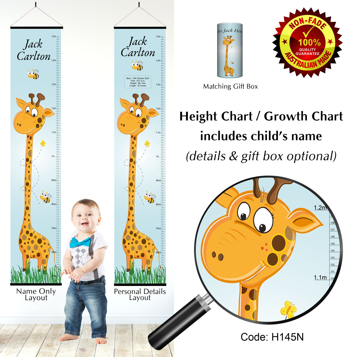 Height Growth Chart Giraffe Boys Blue Theme