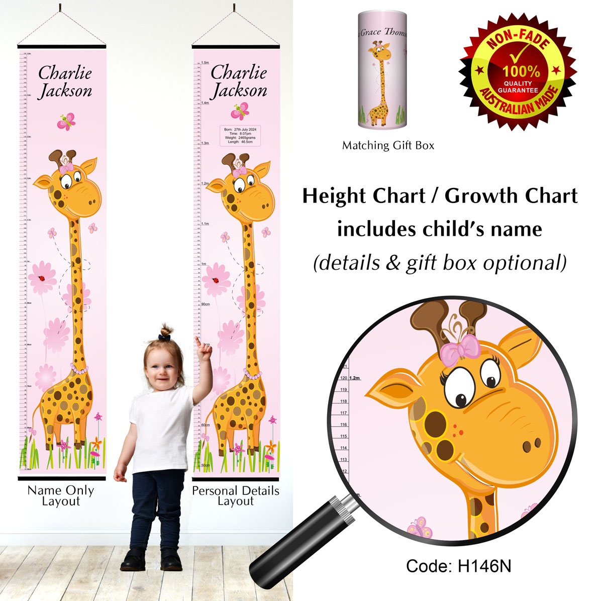 Height Growth Chart Giraffe Girls Pink Theme