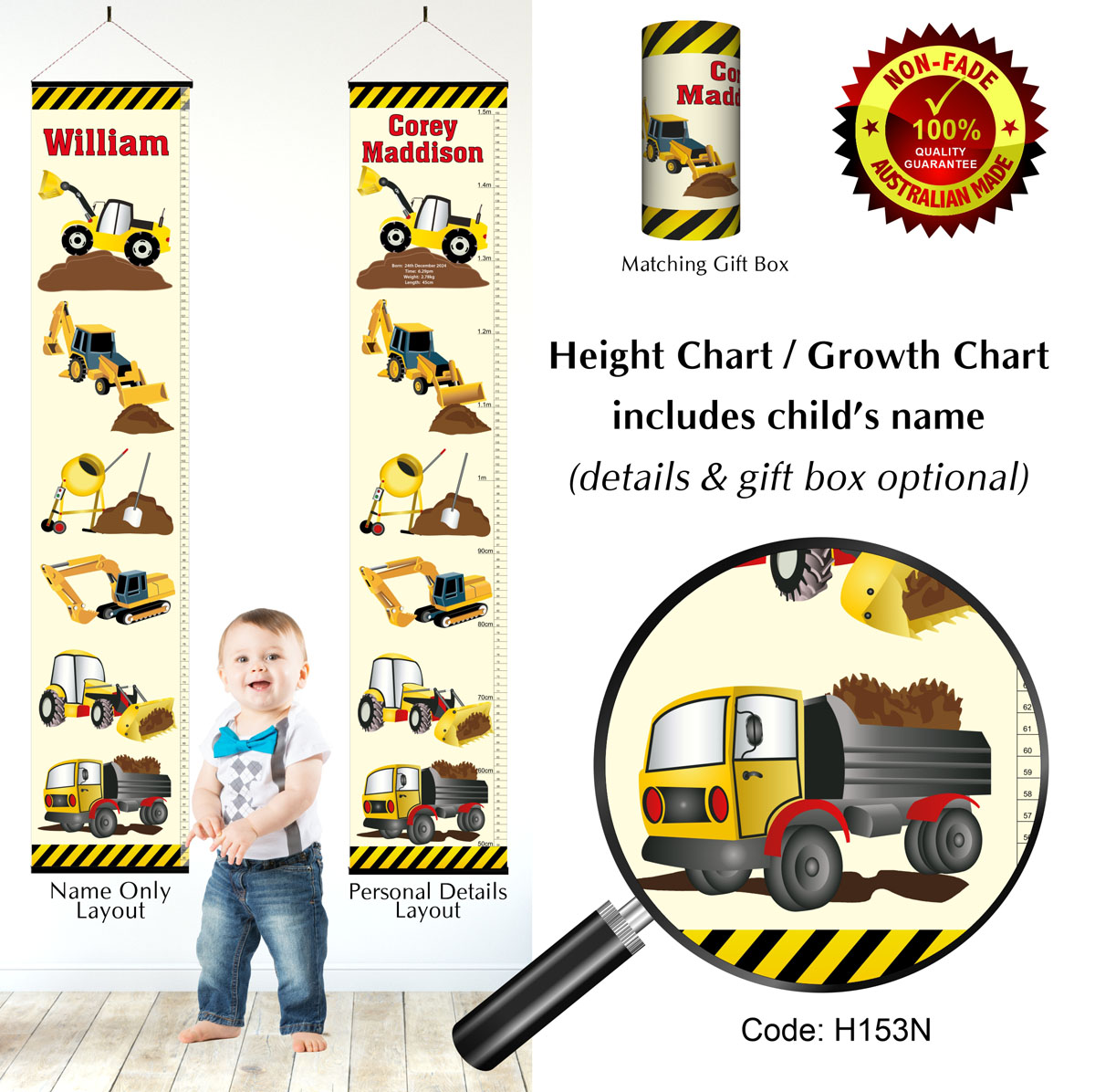 Trucks Digging Height Growth Charts, Diggers for Boys