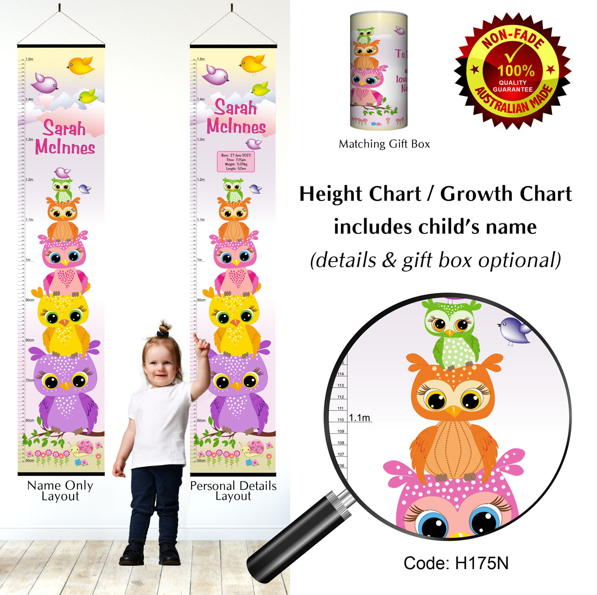 Height Growth Chart with Owls Stacked for Girl