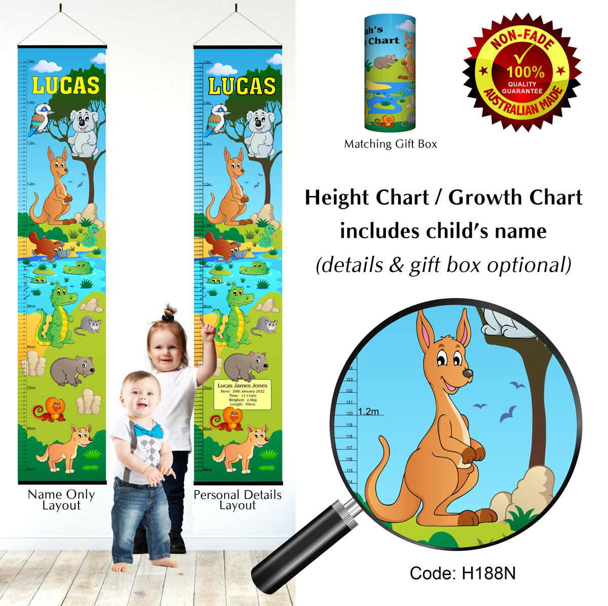 Australia Height Chart with Kangaroo, Koala Animal Theme