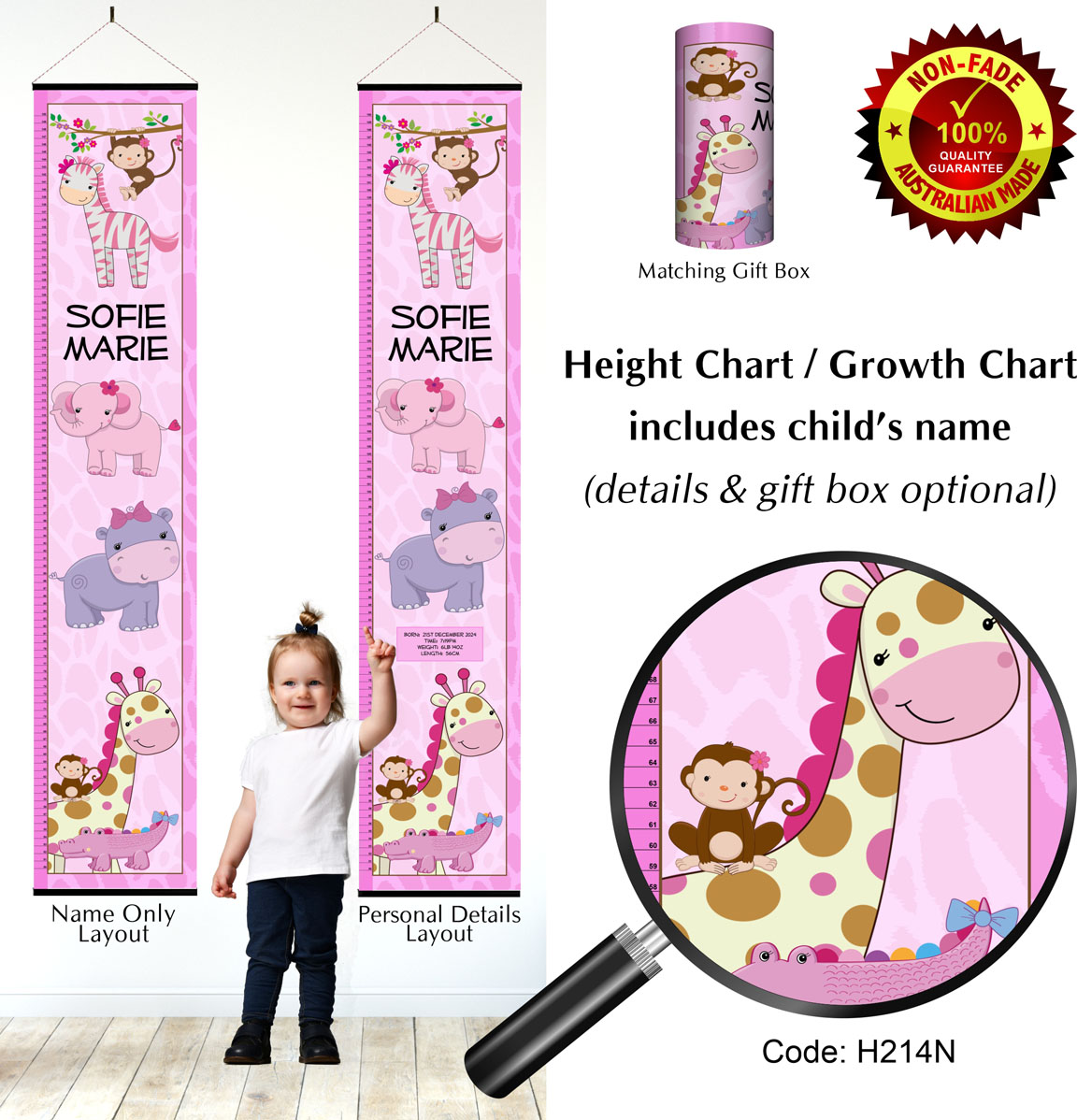 Height Growth Chart  Pink Baby Jungle Animals