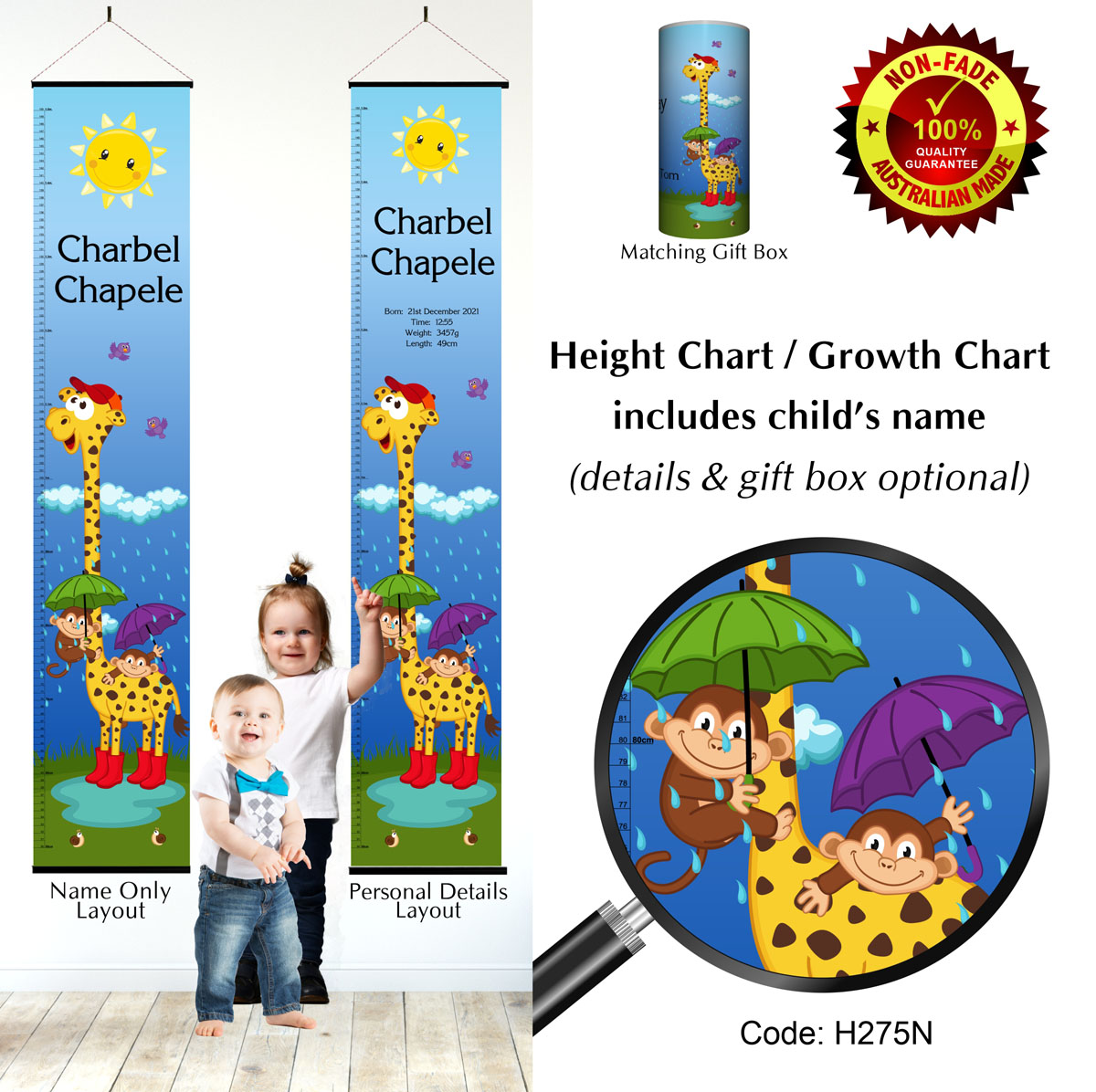 Sunny Giraffe & Monkey in Rain Height Chart