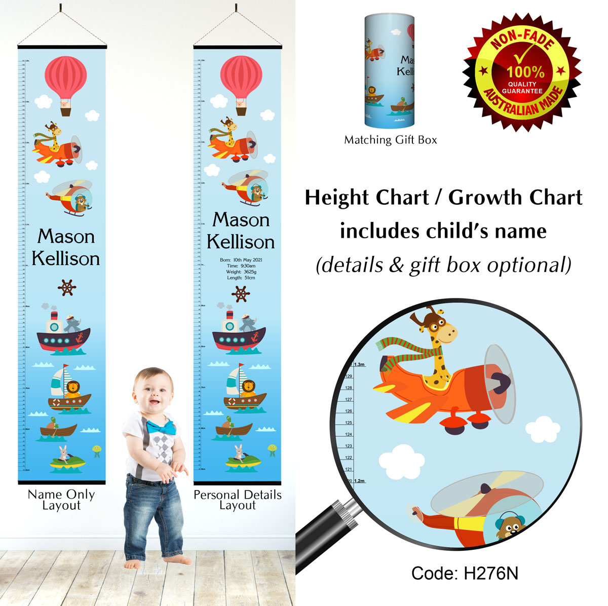 Kids Height Chart with Animals in Boats & Planes