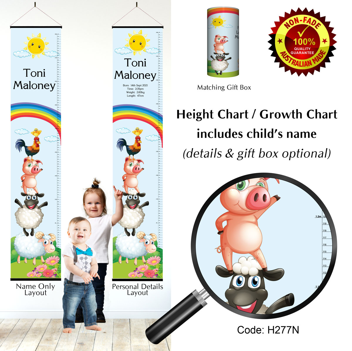 Farm Animals Kids Height Growth Chart for Children