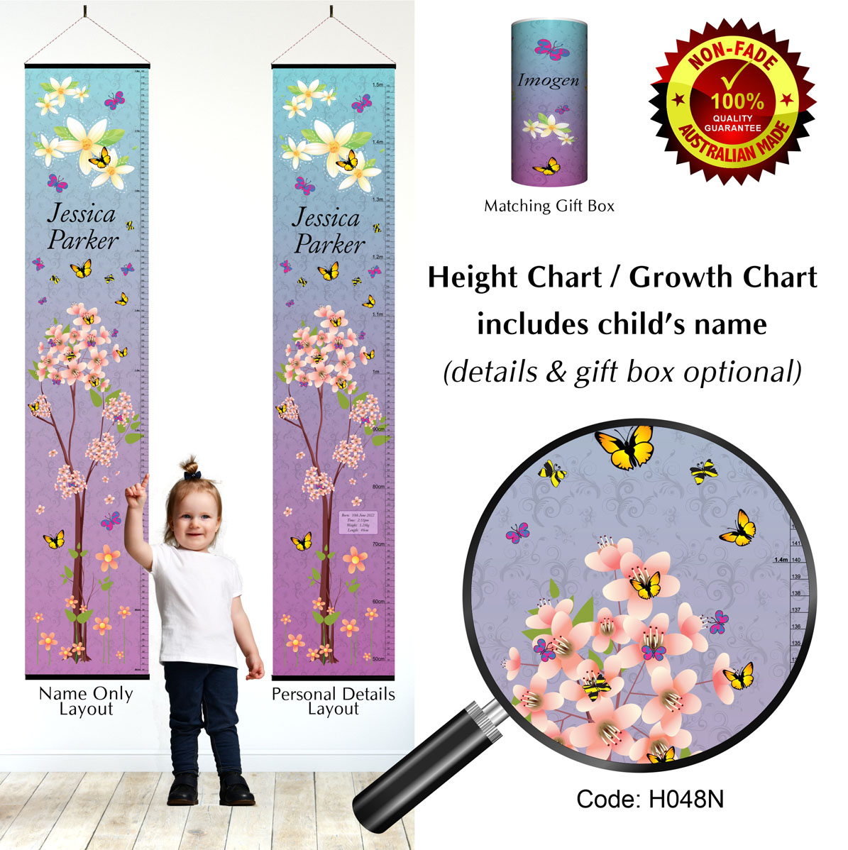 Height Growth Chart with Purple Bloom or Spring Blossom Theme