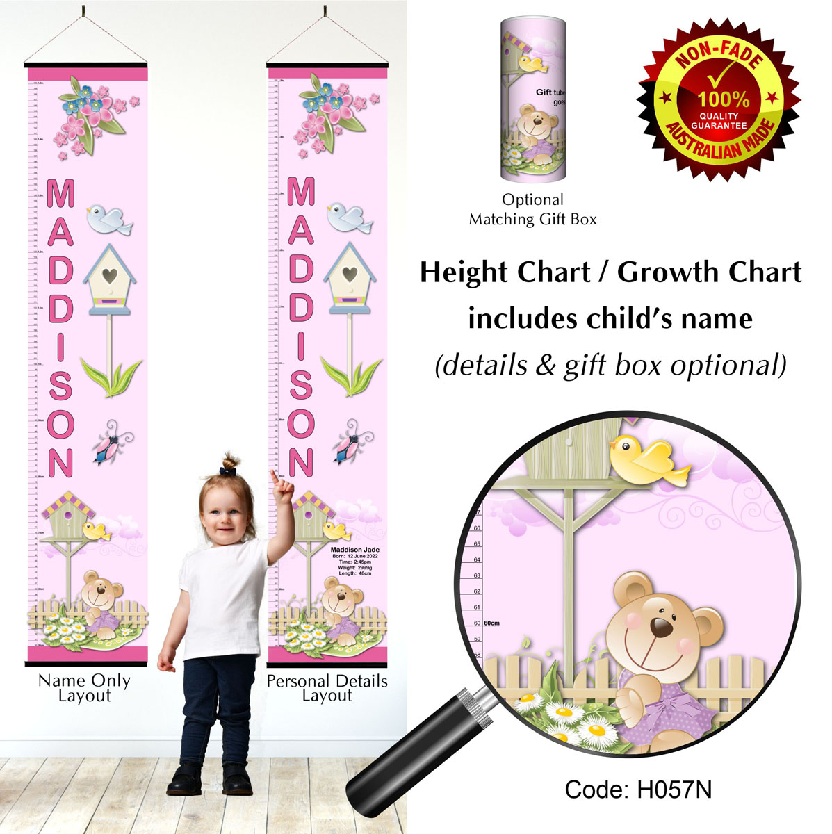 Teddy Bear Height Chart for Girl
