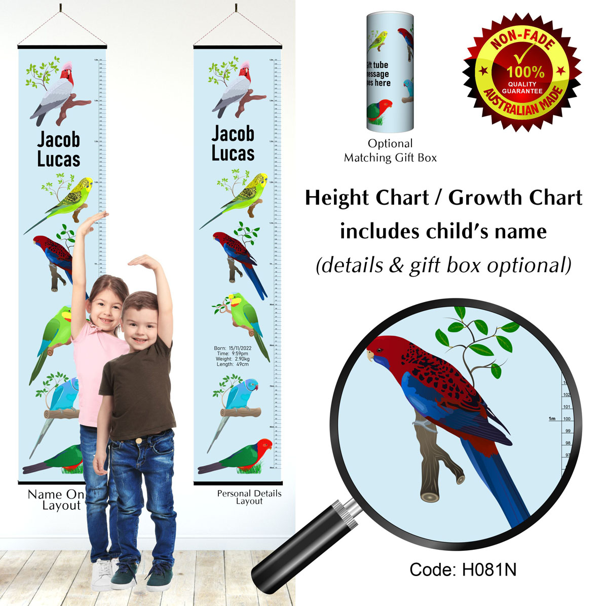Height Growth Chart with Parrots & Birds