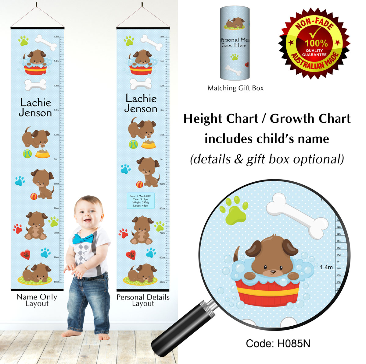 Height Growth Chart with Puppy Dog for Boy