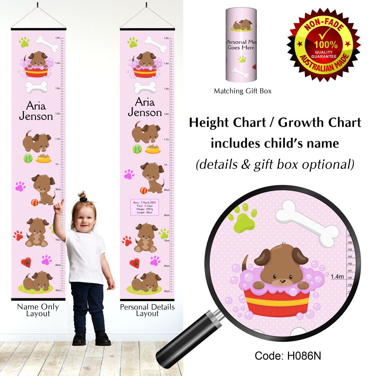 Height Growth Chart with Puppy Dog for Girl