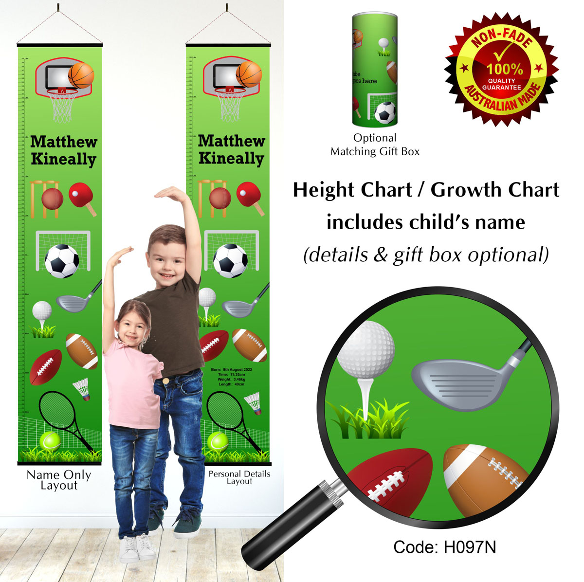 Height Growth Chart Sports Theme