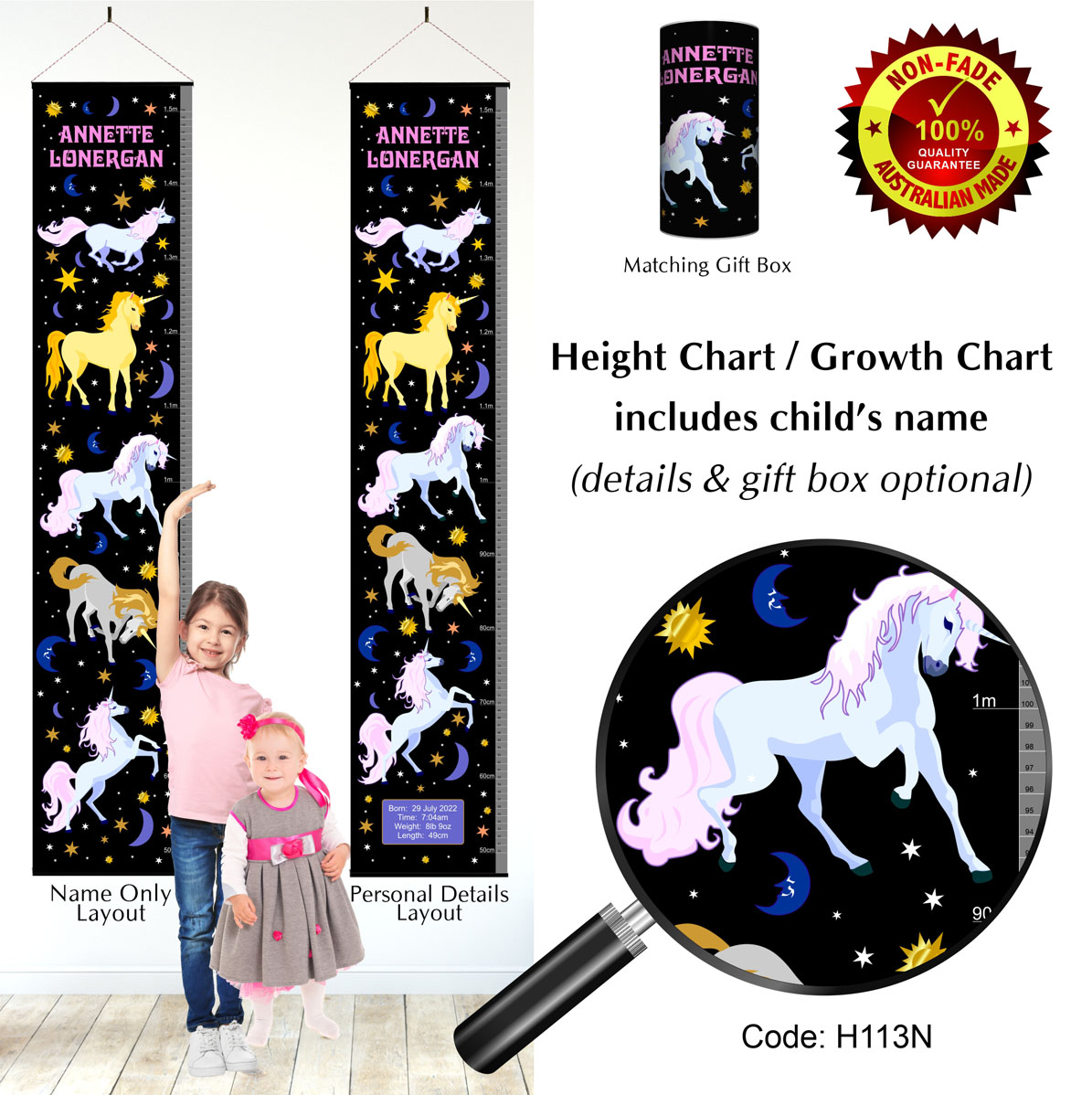 Girls Night Unicorns Growth Height Chart
