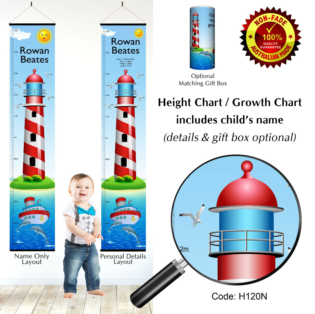 Height Chart with Lighthouse & Boat