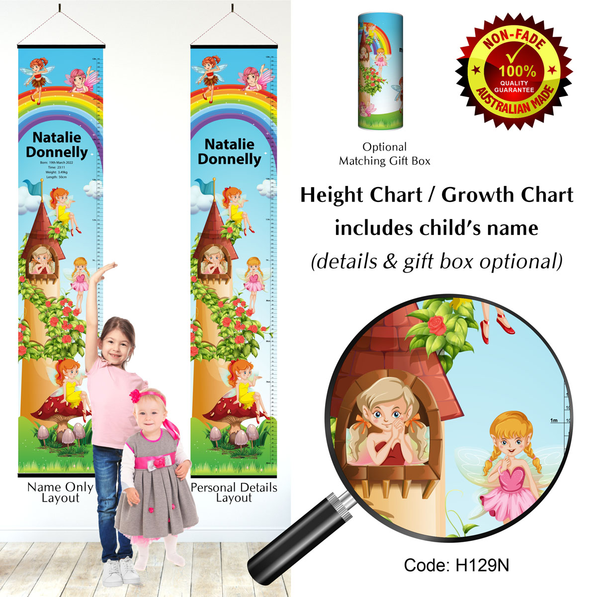 Height Growth Chart Fairy or Fairies and Rainbow Theme