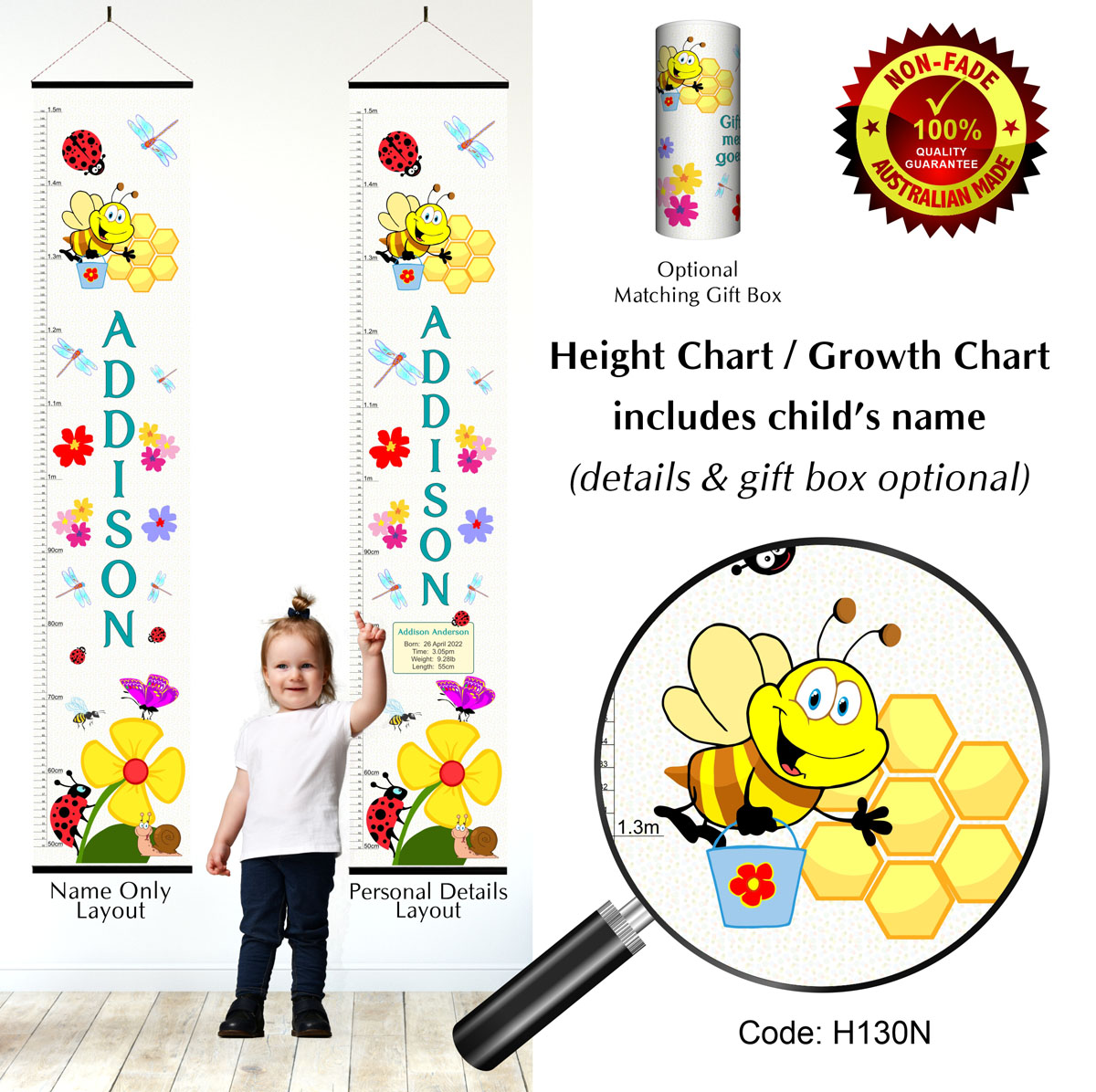 Height Growth Charts with Flowers and Butterflies