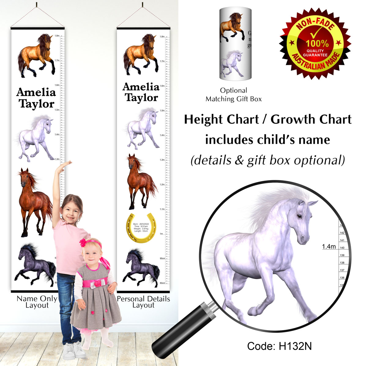 3D Horses Height Growth Chart