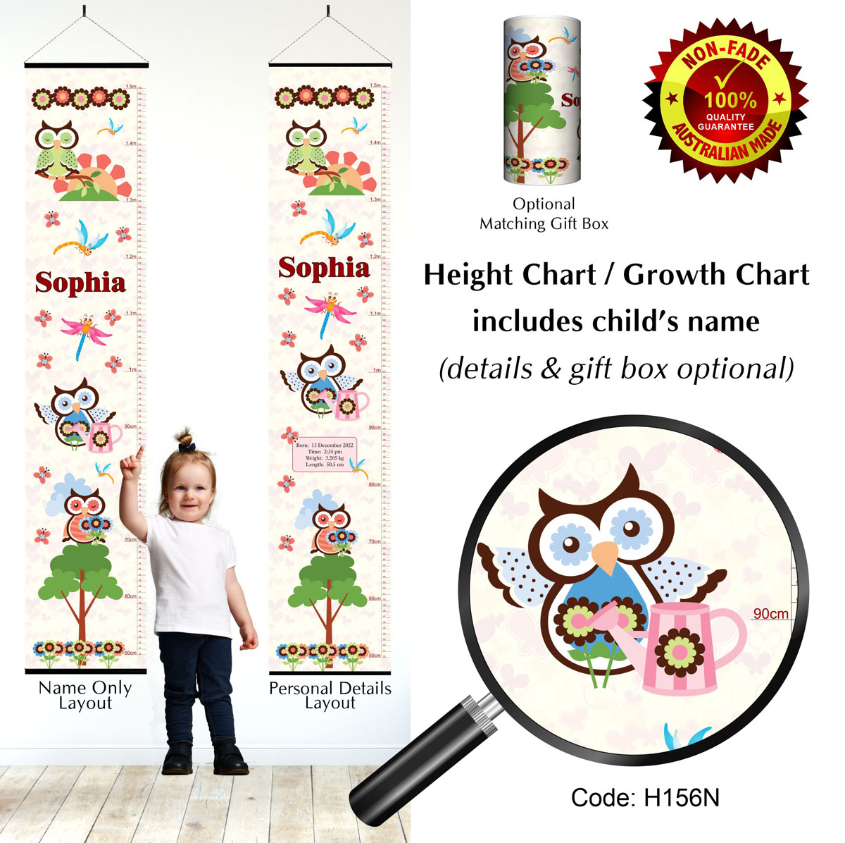 Height Growth Chart Owl Theme for Girls