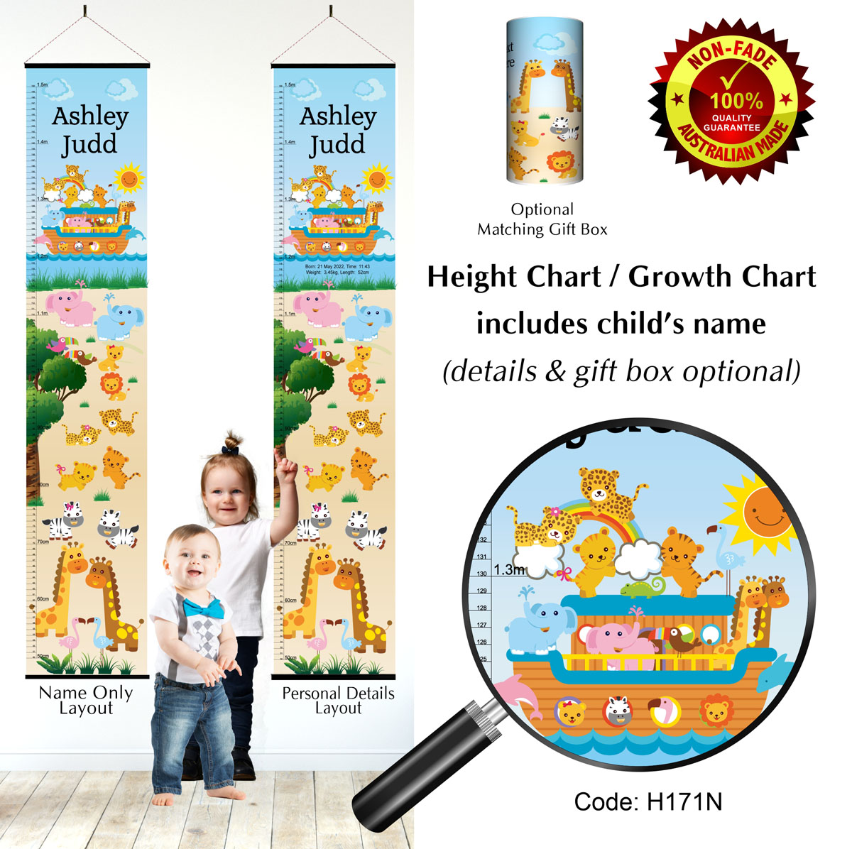 Height Growth Chart in Noahs Ark Theme