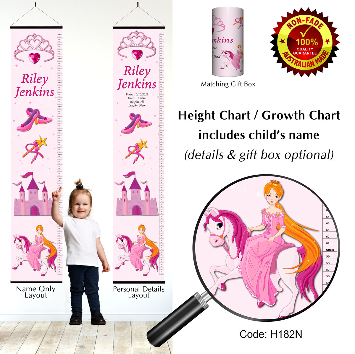 Height Growth Chart with Princess on Horse