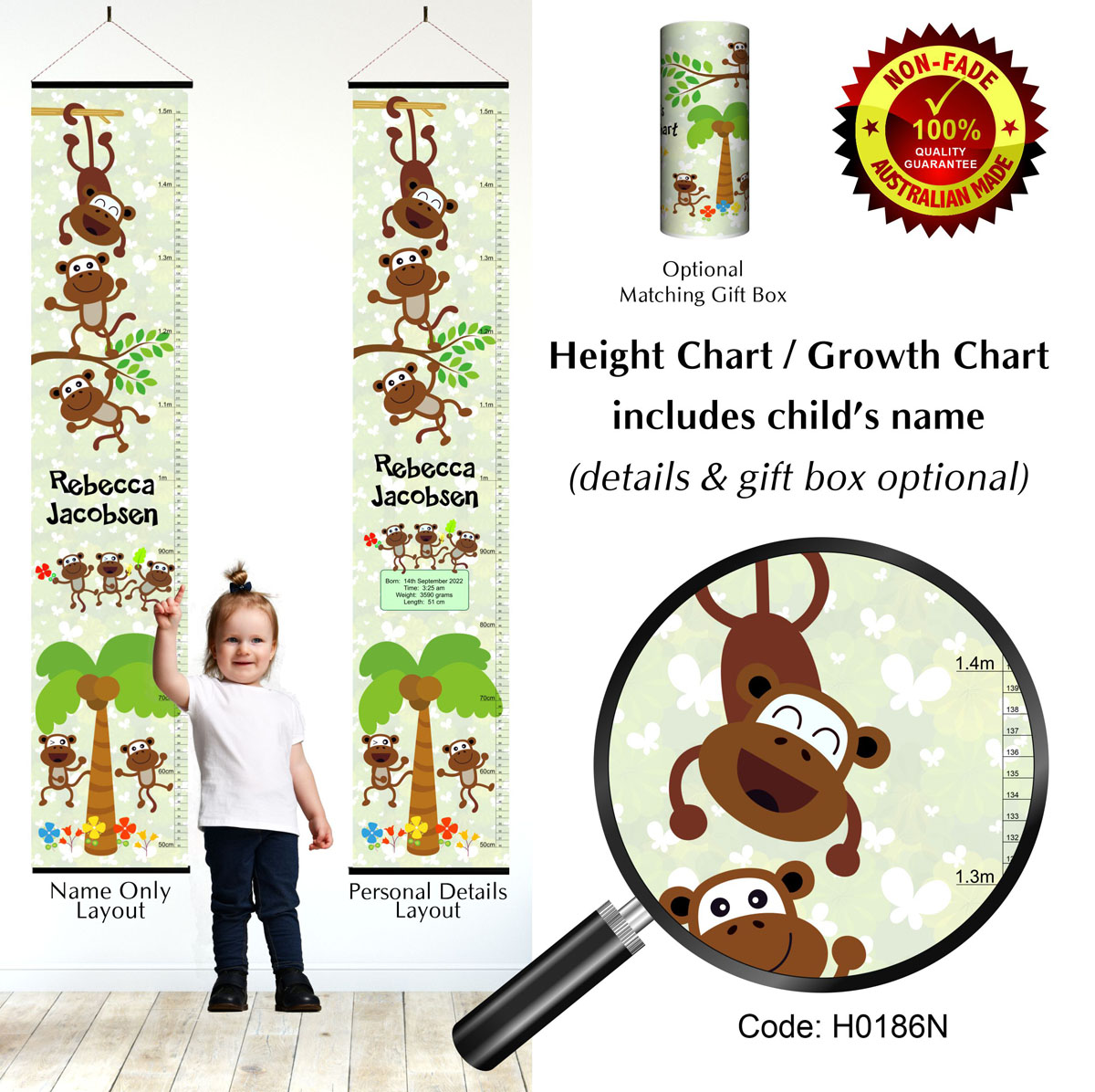 Height Growth Chart - Monkey Theme For Girls