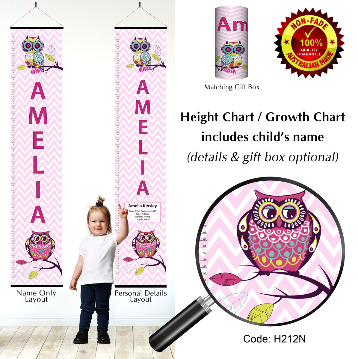 Height Growth Chart  Pink Owls Chevron Pattern