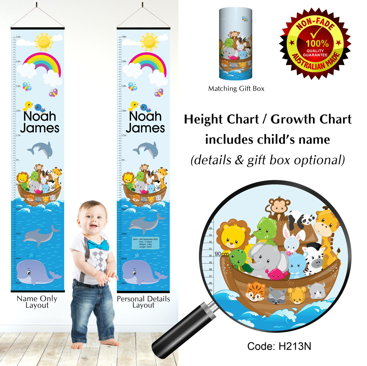 Height Growth Chart with Noahs Ark Animals in Boat