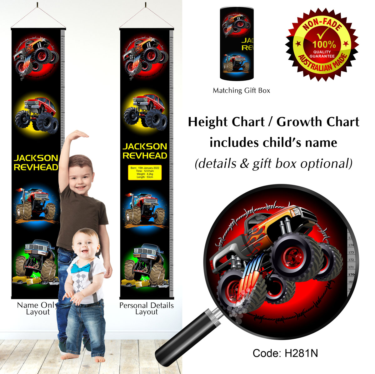 Height Growth Chart for Boys with Monster Trucks & Cars