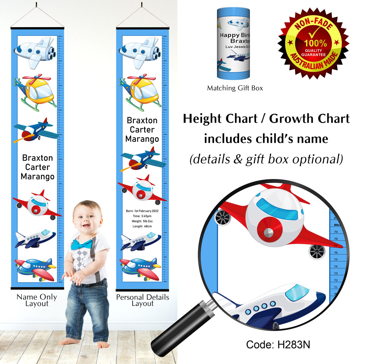 Flying Aircraft & Planes Personalised Growth Height Charts