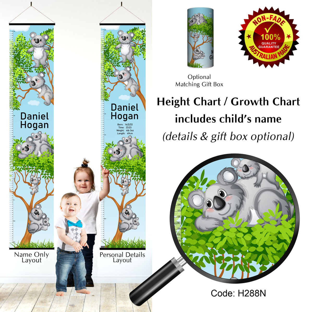 Height Growth Chart with Koalas in Gum Trees