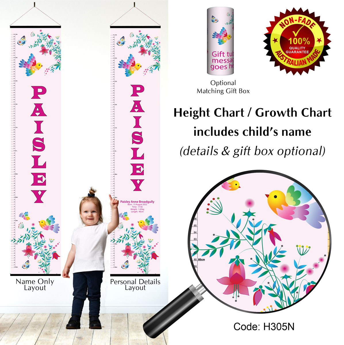 Height Growth Chart with Flowers & Birds