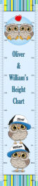 Twin Boys or Brothers Height Chart - Owl Theme