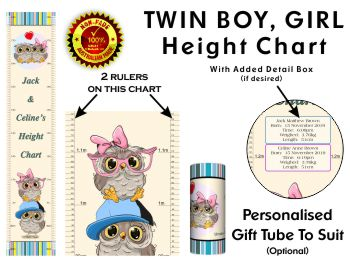 Twin Boy Girl Height Chart -  Brother & Sister