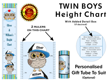 Height Growth Chart for Twin Boys or Brothers with Owl Theme