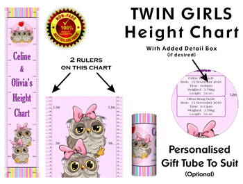 Height Growth Chart for Twin Girls or Sisters