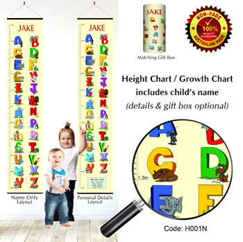 Height Growth Chart - Learning The Alphabet