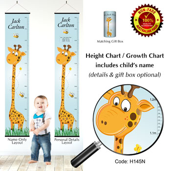 Height Growth Chart - Grow Tall Boy,  Giraffe Theme