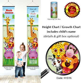 Height Growth Chart - Jungle Friends