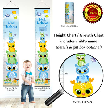 Height Growth Chart with Owls Stacked for Boy
