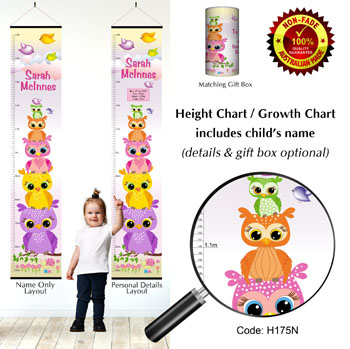 Owls on top of Owl Height Chart Pink Theme