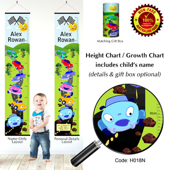 Height Growth Chart with Car Rally Theme