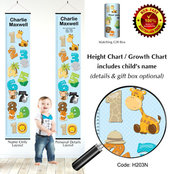 Height Chart - Learn to count numbers, Jungle Animals