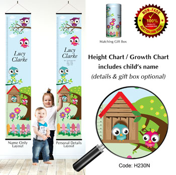 Height Charts - Birds & Owl Home Theme
