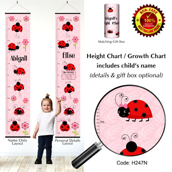 Height Growth Chart with Ladybugs or Ladybirds Theme