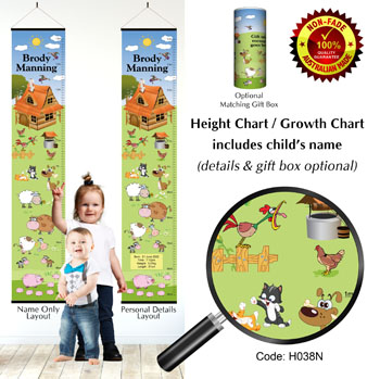Height Growth Chart for Child with Farm Animals