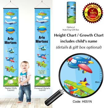 Growth Height Chart with Flying Aircraft & Planes