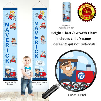 Height Growth Chart with Teddy Bears on Transport