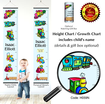 Height Growth Chart - Toy Trains