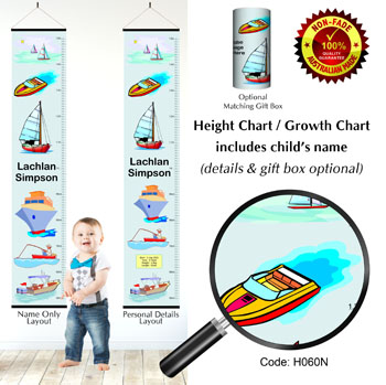Height Growth Chart Boats & Ship Themed