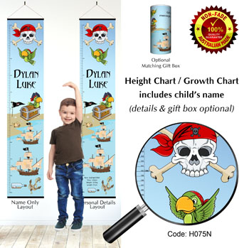 Height Growth Chart Pirate Theme