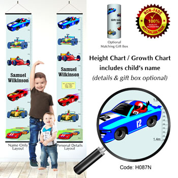 Height Growth Chart Racing Cars Themed